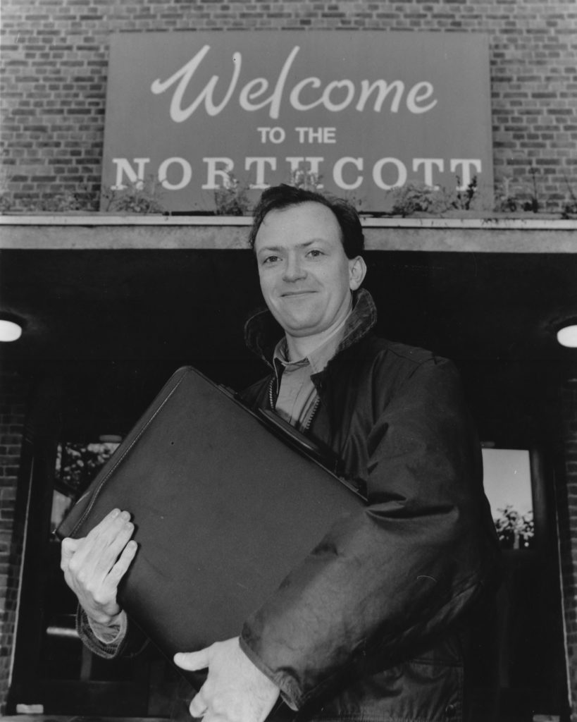 John Durnin outside the Northcott for his first day