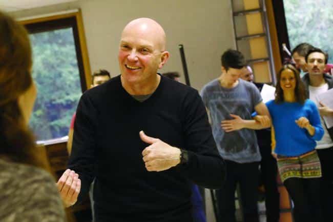 John Durnin laughing during rehersals