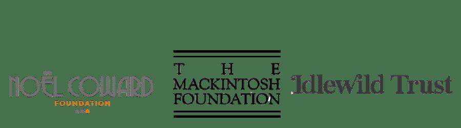Noel Coward Foundation, The Mackintosh Foundation, and Idlewild Trust logos