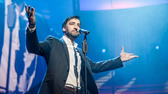 Alistair McGowan on stage during 'The Piano Show'