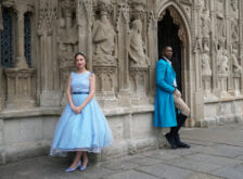 Photo of cast members from Beauty and the Beast in character outside Exeter Cathedral