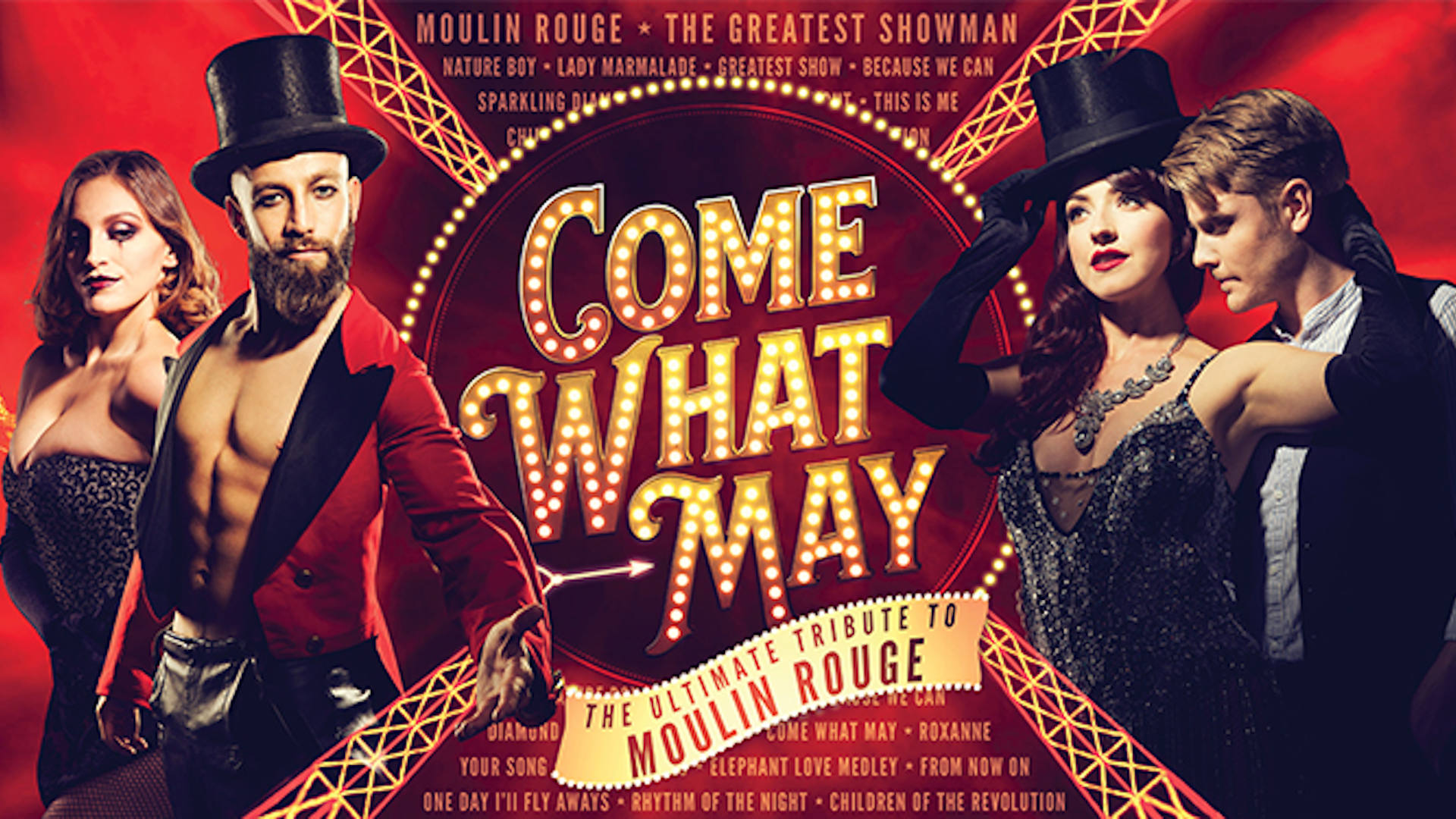 Come What May production advert with 4 cast members
