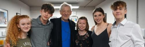 Sir Ian McKellan with five teenage actors