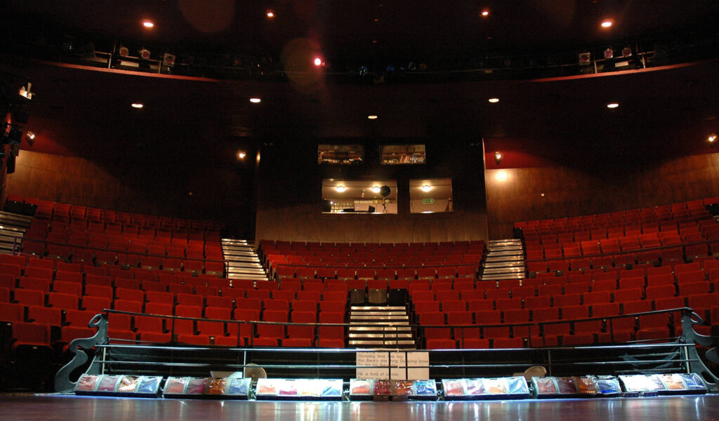 Exeter Northcott stage looking onto empty theatre seating