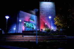 Photo of Northcott Theatre building at night