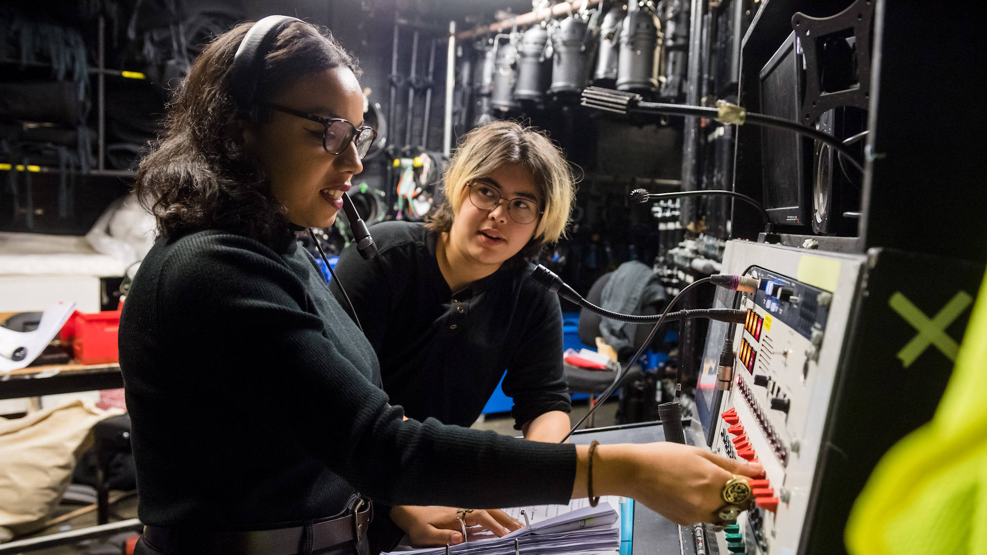 Two women at a switchboard - backstage