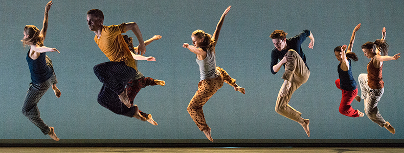 Photo of Richard Alston Dance Company mid performance