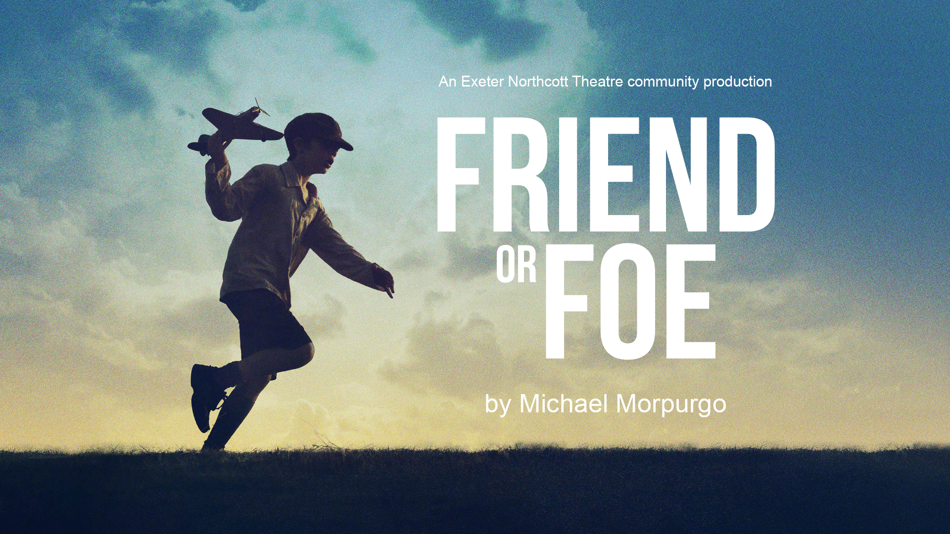 Friend of Foe promotional image - A young boy dressed in war era clothes runs across a field with a toy airplane. The horizon is lit up.