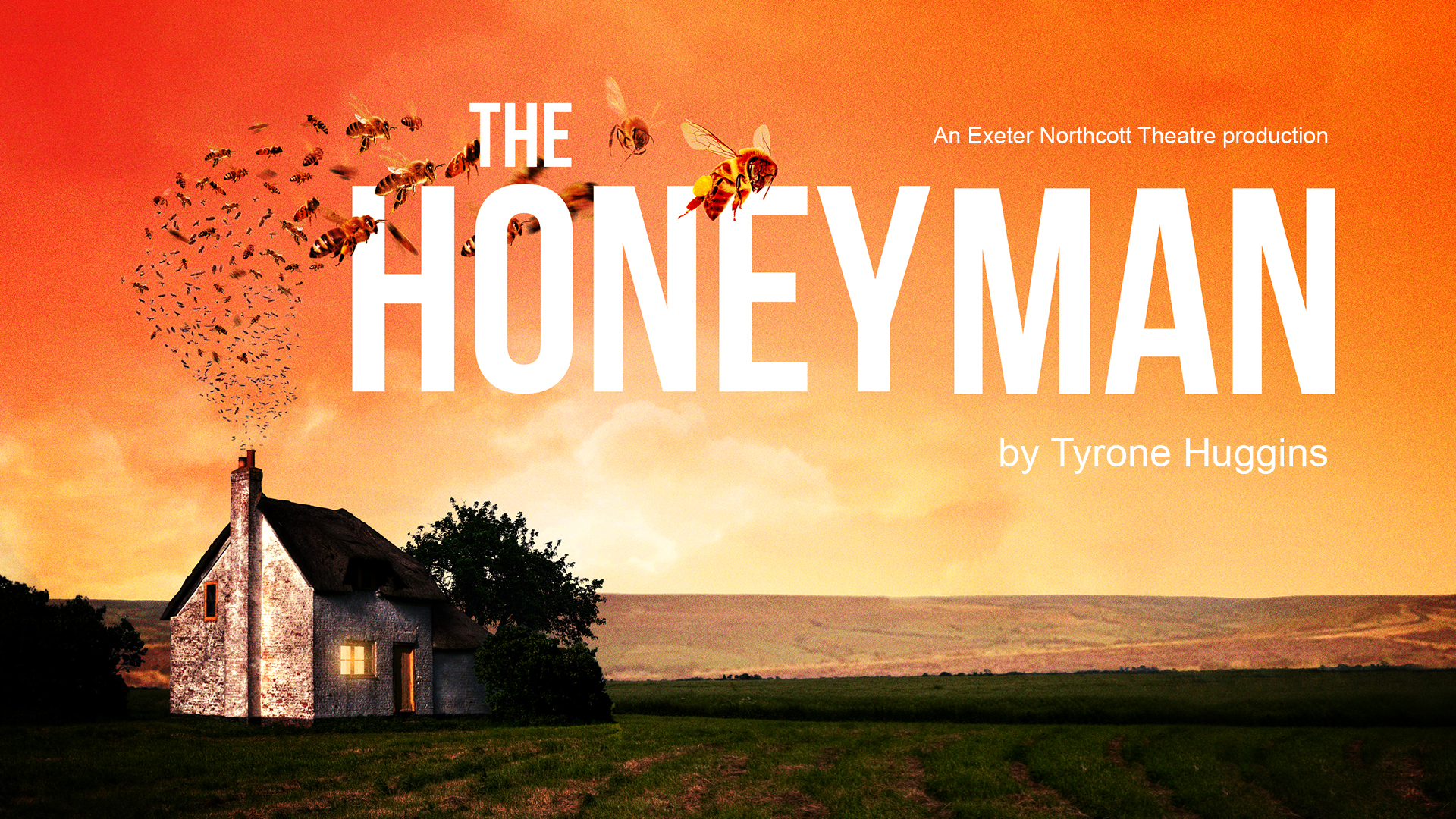 The Honey Man promotional image - a swarm of bees flies out of the chimney of a lonely cottage against a bright orange background