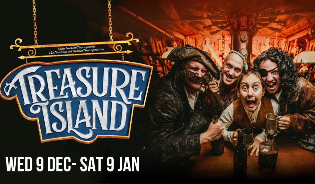 Treasure Island production advert with four cast members - dates: Wed 9 Dec - Sat 9 Jan