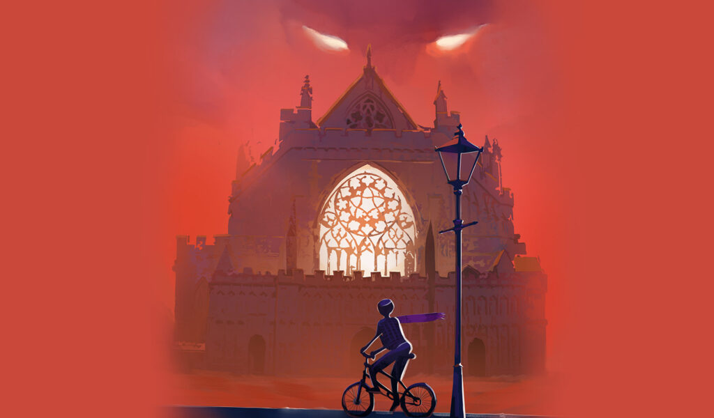 An illustration of Exeter Cathedral with a shadowy figure on a bicycle and fiery eyes in the clouds