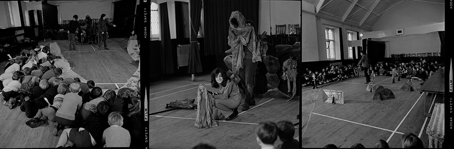 Selection of black and white images showcasing education work in the 1970s