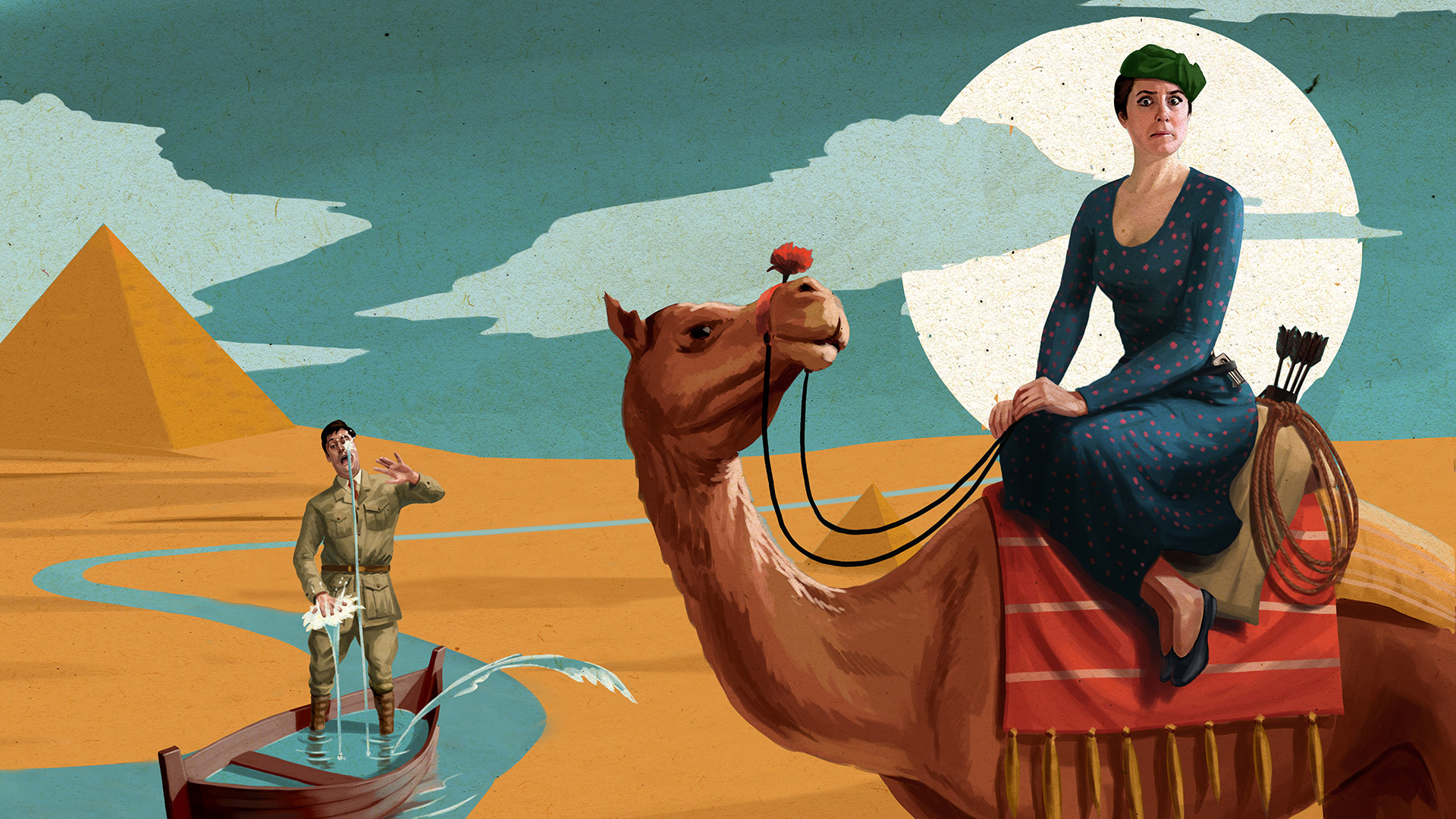 Crimes in Egypt promotional image: A woman on a camel making a funny face over a man on a boat which appears to be sinking in the desert.