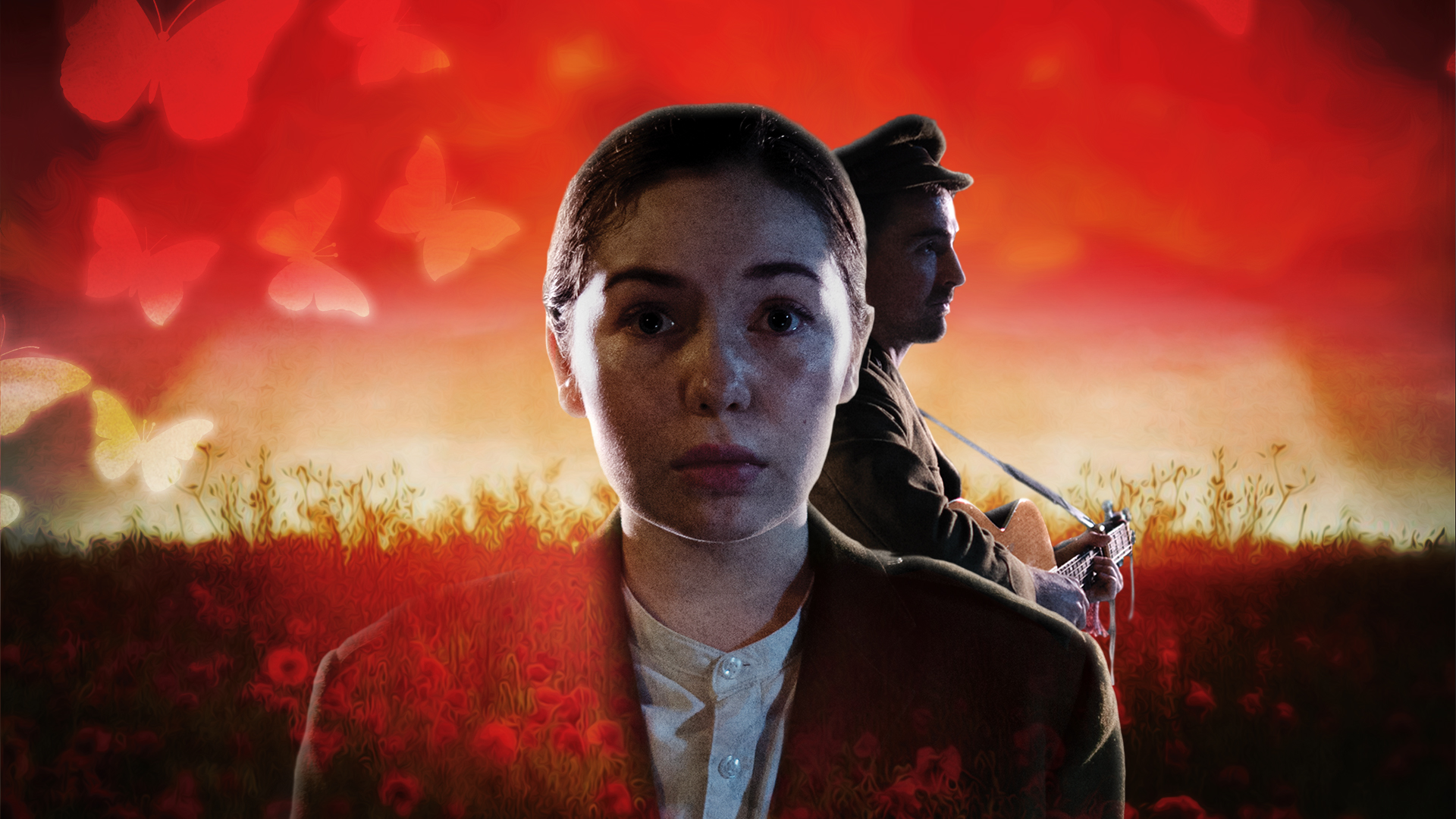 Private Peaceful promotional image - A child in the foreground, wide-eyed, the silhouet of a soldier against a bright red background behind them