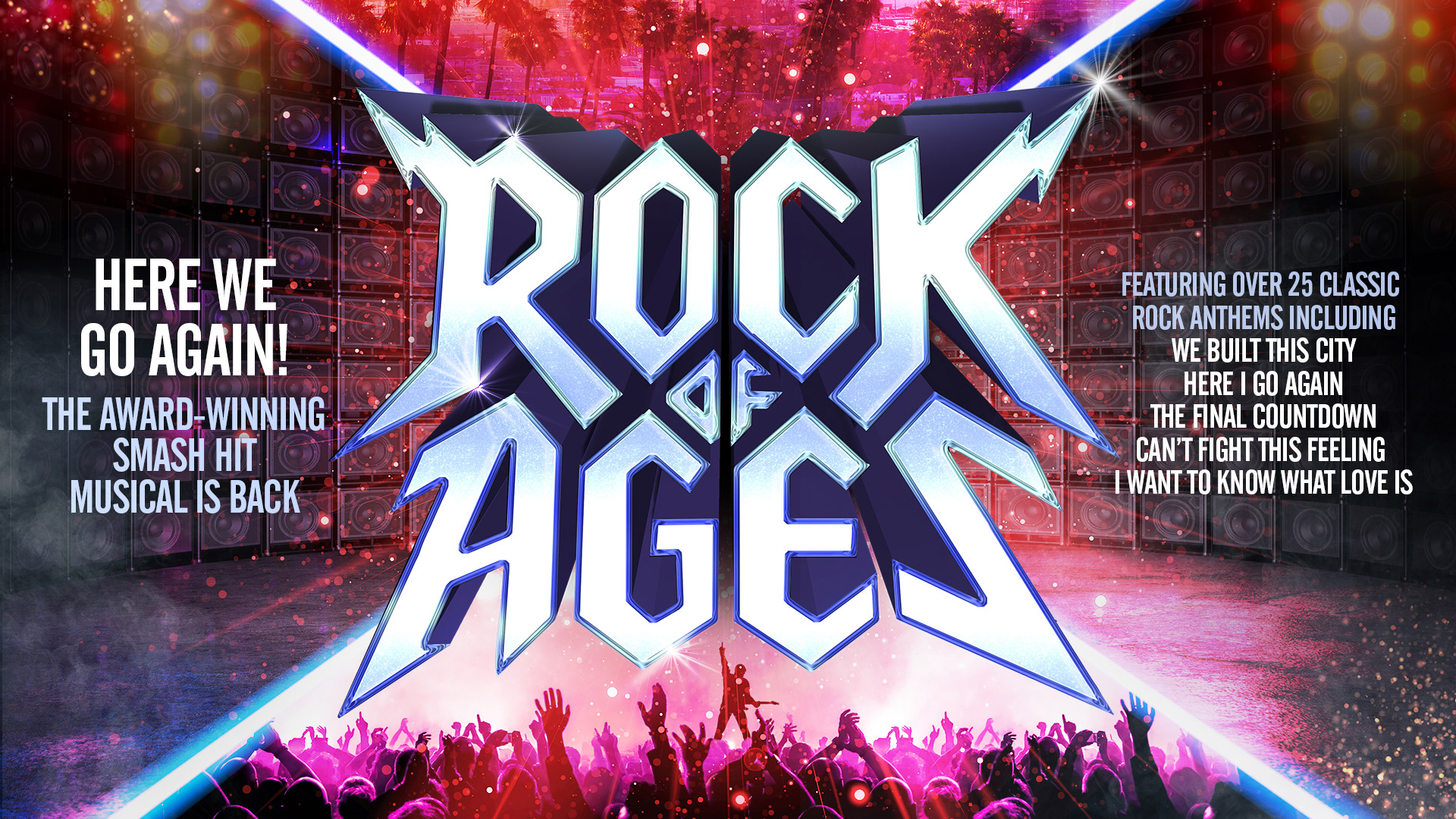 ROCK OF AGES in a very lightening rock font and a big crowd underneath