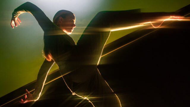 Strong contemporary dance image of Richard Chappell Dance, playing with light and movement
