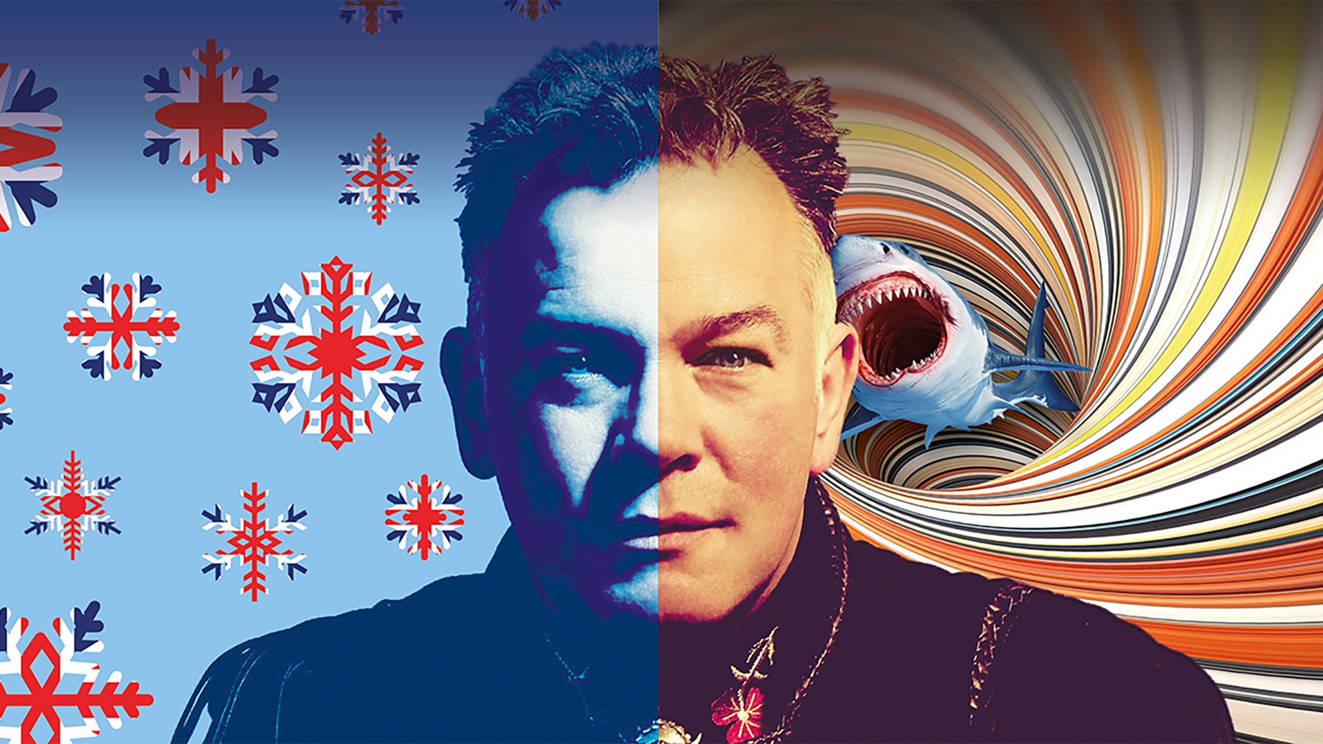 Stewart Lee promotional image: The man himself in the centre, the left side coloured blue, with British flag patterned snowflakes, the right in orange and yellow tones, behind him a tornado swirl with a shark jumping out of the centre