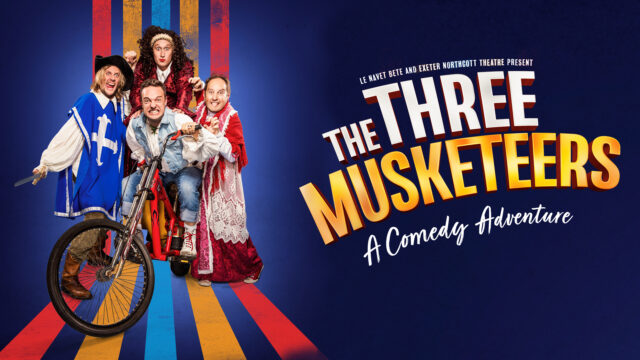 Colourful promotional artwork for The Three Musketeers - A Comedy Adventure. 4 actors in costume staring into the camera in excitement and with some surprise!