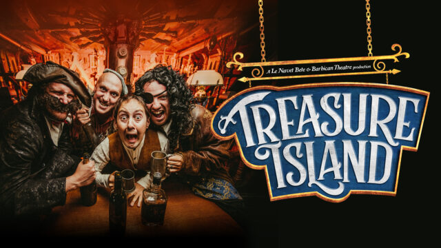 Treasure Island promotional artwork - 4 actors in period costume in a tavern, leaning in with very piratey expressions!