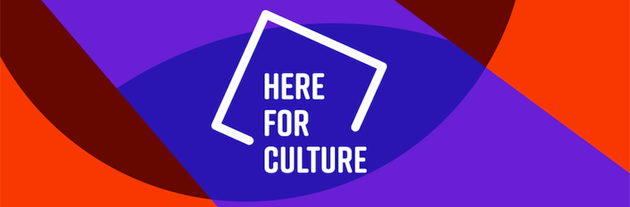 Here for Culture logo against colour-block purple and red background