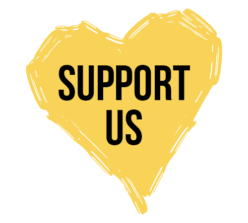 the text Support us in a bright yellow heart