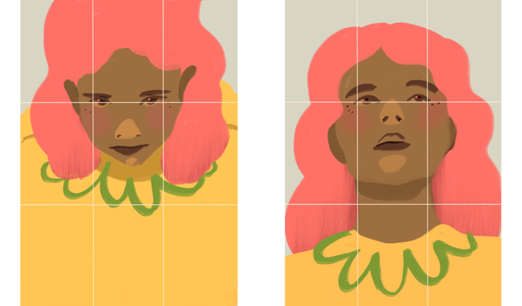 side-by-side portraits, the left from a high angle, the right from a low angle