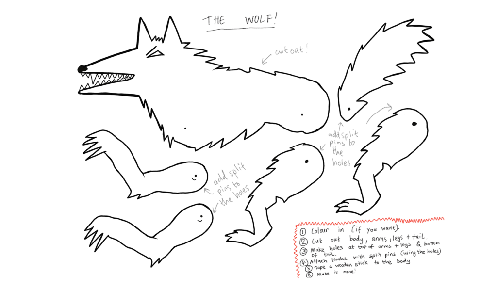 Template to make a paper Wolf: body and head, legs and tail are all separate pieces that can move