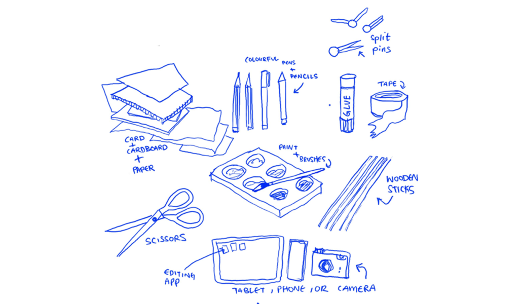 Illustration of tools needed to create an animation film