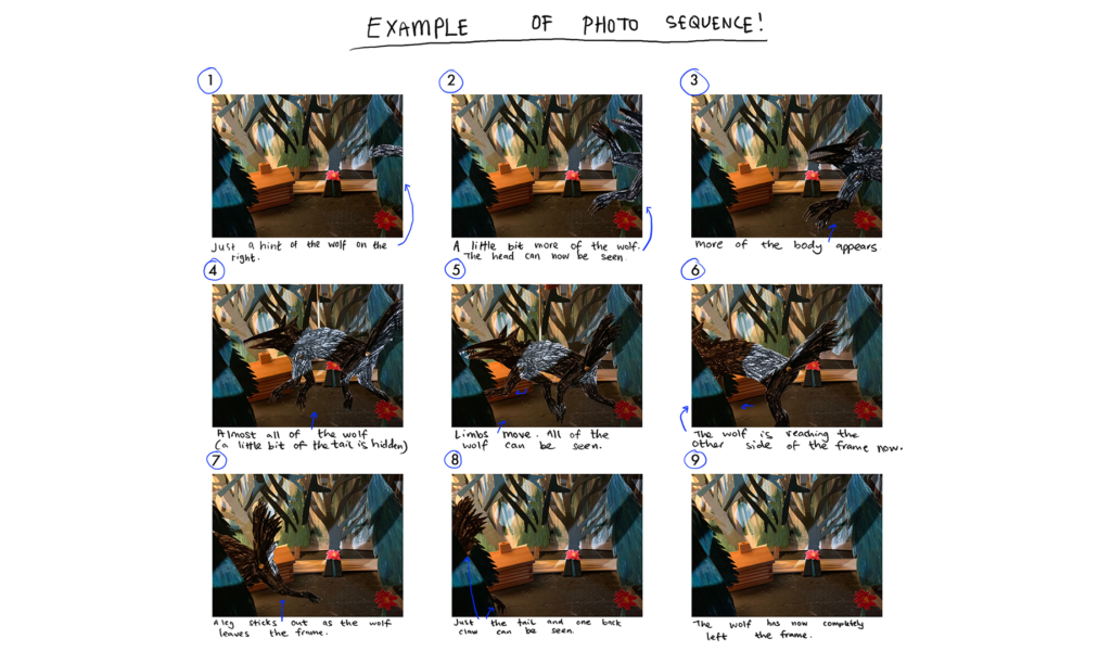 Example of a photo sequence: Little Red Riding Hood stop motion