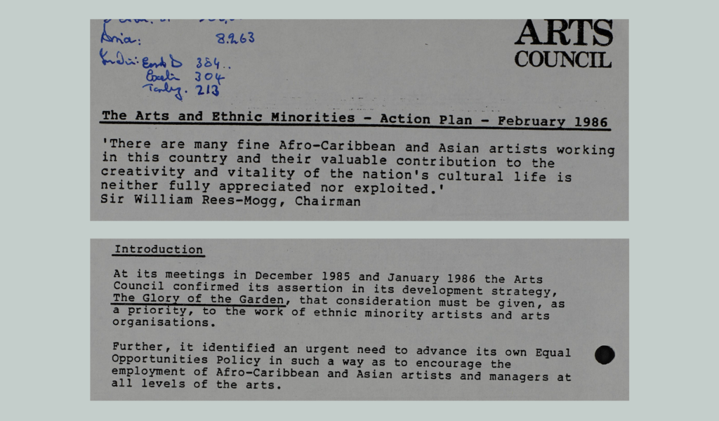 Extracts from Arts Council documents 1986