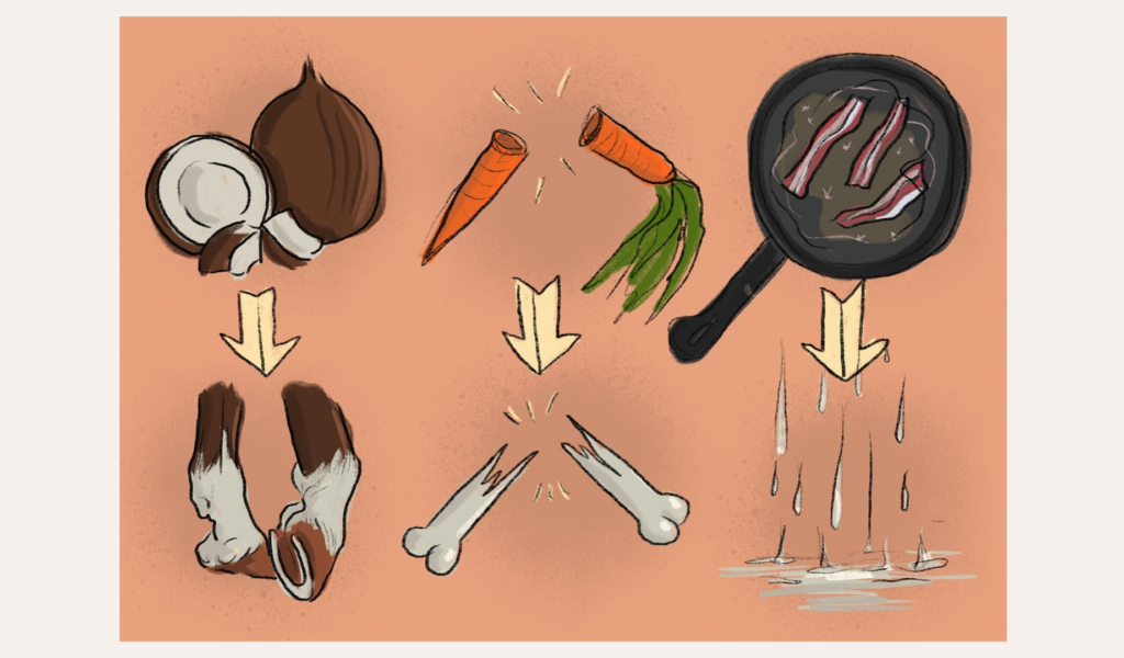 Examples of foley: coconuts for horse feet, breaking carrots for breaking bones, sizzling bacon for rain