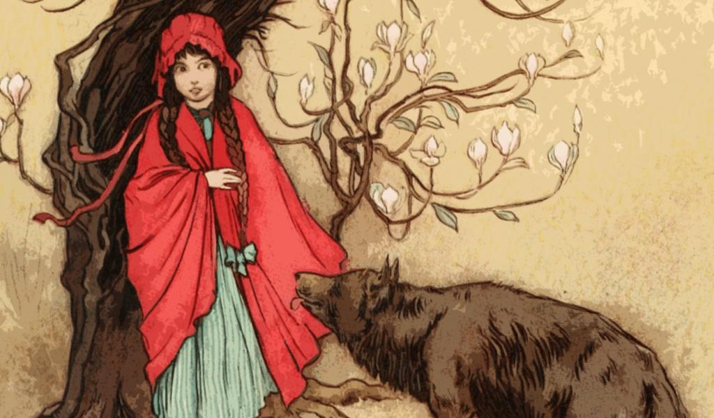 Little Red Riding Hood storybook illustration of Little Red Riding Hood and the Wolf