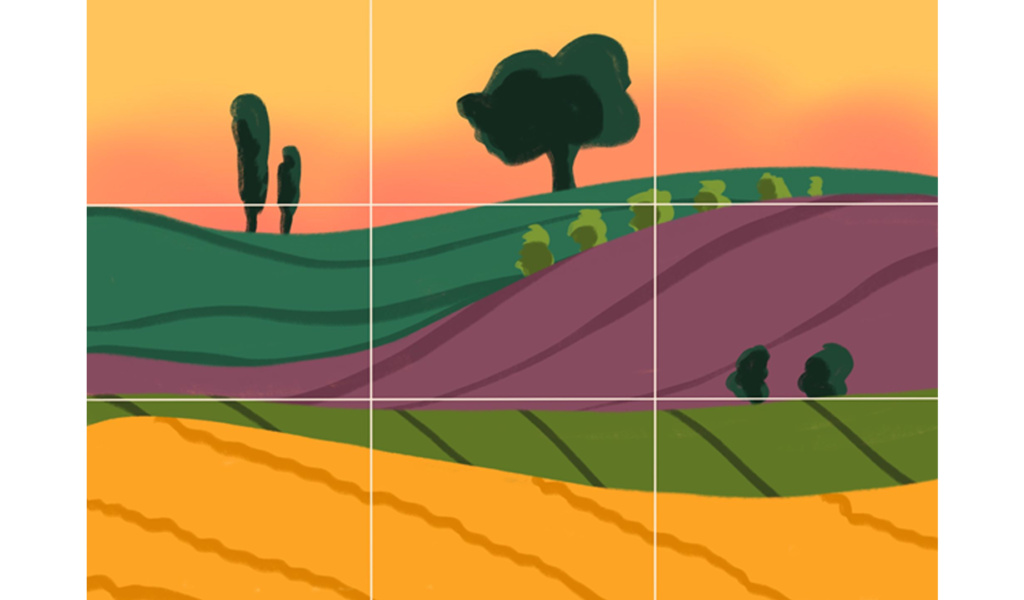 Landscape illustration overlaid with a grid cutting the image into 9 equal parts