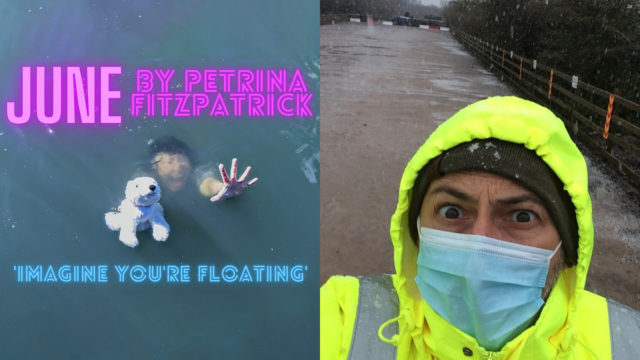 An image split in half: one hald shows a woman drowning while holding a cuddly toy, the other half shows a man in high-vis jacket and wearing a face mask