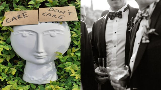 Two images: 1) A sculptural head with a sign stuck on it that says 'care don't care' (2) Men wearing black tie suits and holding various cocktail and champagne glasses at a party