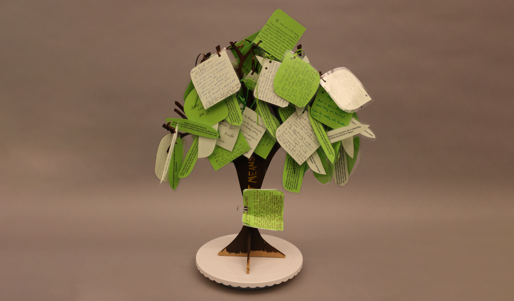 The Memory Tree - Green and white note cards on a cut-out tree frame