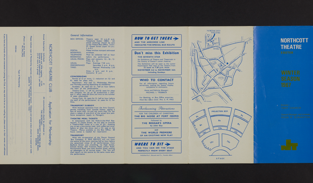 Northcott theatre's first brochure, Winter 1967