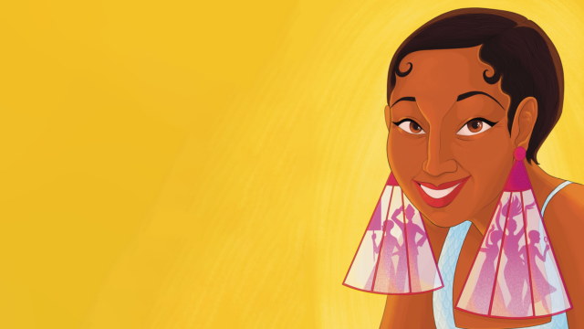 Josephine: illustration of Josephine Baker wearing large earrings against a bright yellow background