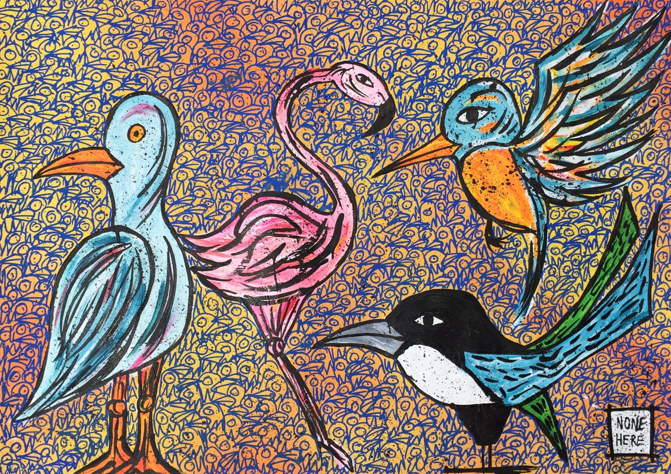 Street art by Steve McCracken featuring colourful birds
