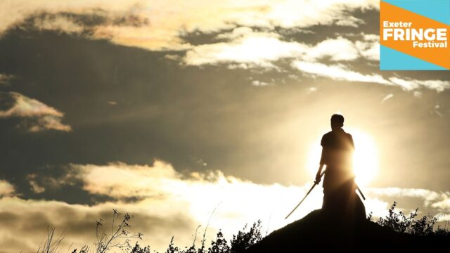 Promotional image for The Wounded King - A shadowy figure against a yellow horizon, he's holding a samurai sword pointing down