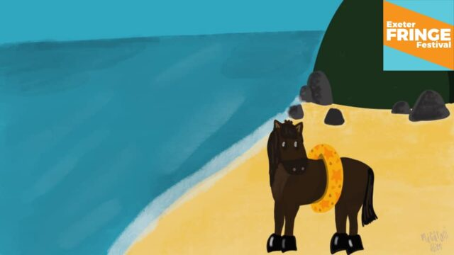 Promotional image for Barney the Horse - a drawing of a coastal scene, with a horse on the beach. He's wearing a swimming band.