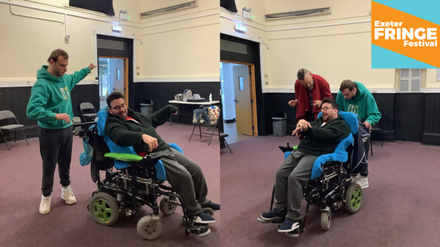 Two performers in wheelchairs are participating in Creative Connections