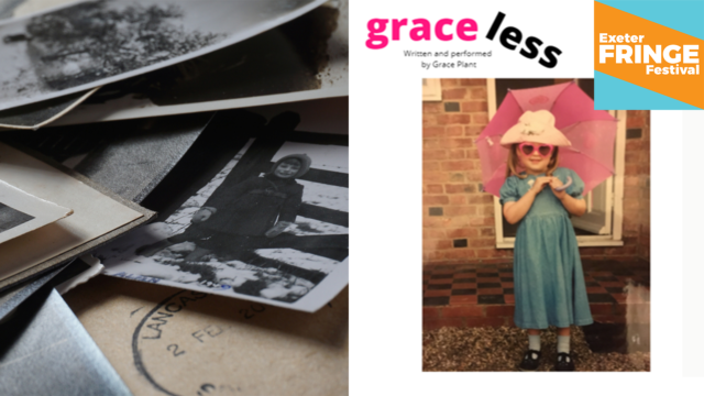 Promotional image for Graceless - old looking photos of a young Grace; a smiling girl with a pink umbrella and pink heart-shaped glasses