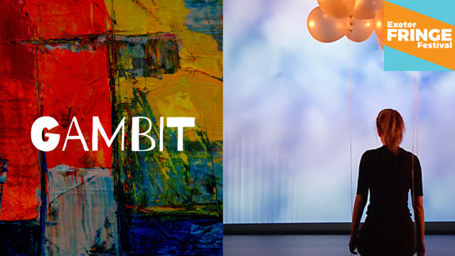 Marketing image for Gambit (textural painting with colourful planes and mixes) and Close Enough (a girl with a ponytail standing in front of clouds, her back to us, orange balloons in her hands)