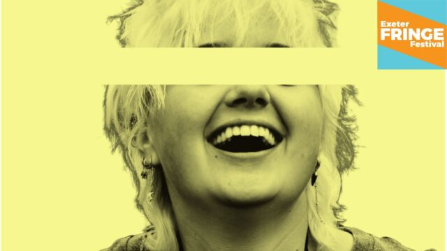 Promotional image for How Did I Get Here? - yellow monochromatic image featuring a young woman laughing, but a yellow bar is covering her eyes