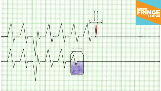 Promotional image for Romeo and Juliet - two ECG graphs beating perfectly in sync, one interrupted by a vial of something purple, the other just after by a bloody dagger