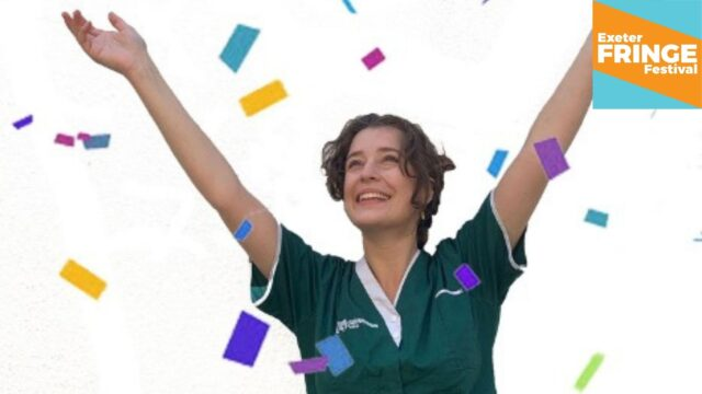 Promotional image for Who Cares Now - featuring a young female health professional throwing colourful confetti up in the air